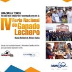 MONTANA agradece su visita a la IV Feria Nacional de Ganado Lechero, Razas Holstein y Brown Swiss