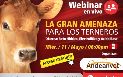 Afiche Webinar En vivo DIARREA EN TERNEROS-Equilibrio-acido-base-Organizan Andeanvet y Ritchmond