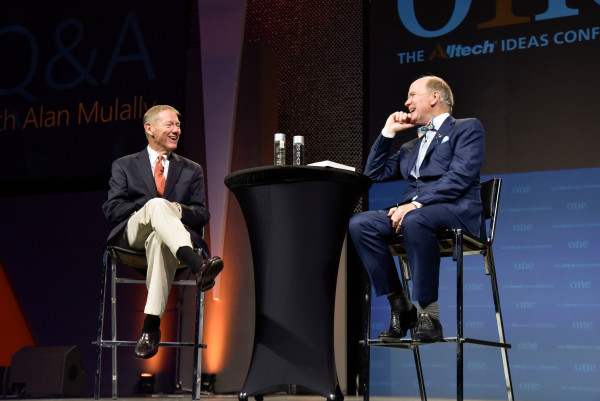 Alltech Founder and President, Dr. Pearse Lyons, and Alan Mulally, President and Chief Executive Officer, The Ford Motor Company (2006-2014), speak during the Alltech ONE Ideas Conference in Lexington, Kentucky.