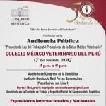 Audiencia Pública: Proyecto de Ley del Trabajo del Profesional de la Salud Médico Veterinario