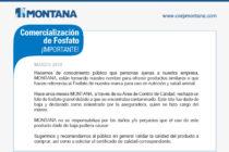 MONTANA – Comunicado sobre Comercialización de Fosfato – ¡Importante!