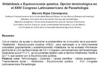 Hidatidosis o Equinococosis Quística: Opción Terminológica en el XXIV Congreso Latinoamericano de Parasitología