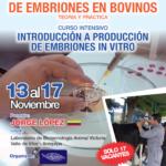 Curso Taller: Colección, Clasificación y Transferencia de Embriones en Bovinos (MOET). Introducción a la Producción de Embriones In Vitro (PEIV)