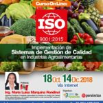 Curso On Line - ISO 9001: 2015 Implementación de Sistemas de Gestión de Calidad en Industrias Agroalimentarias