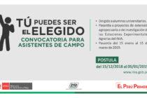 INIA Convoca Asistentes de Campo para todo el Perú