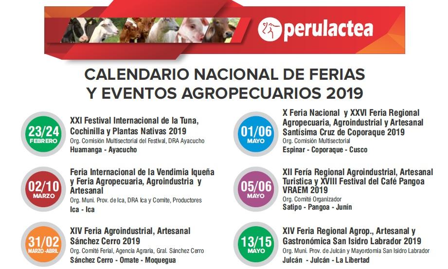 Calendario Marzo 2020 Peru.Calendario Nacional De Ferias Y Eventos Agropecuarios En El