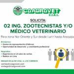 COAGROVET Necesita Dos Representantes de Ventas de Productos Veterinarios