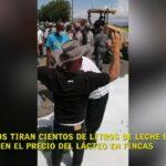Ganaderos de República Dominicana tiran Cientos de Litros de Leche Exigiendo Aumento en Precio de Lácteos en Fincas